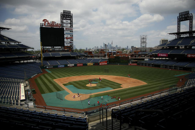 Philadelphia Phillies baseball players practice at Citizens Bank Park, Tuesday, July 7, 2020, in Philadelphia. (AP Photo/Matt Slocum)