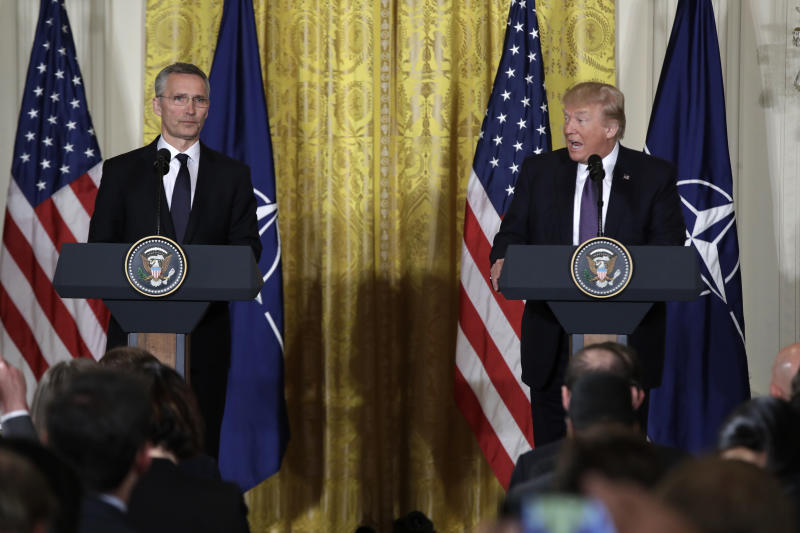 President Donald Trump speaks during a news conference with NATO Secretary General Jens Stoltenberg in the East Room of the White House in Washington, Wednesday, April 12, 2017.  (AP Photo/Evan Vucci)
