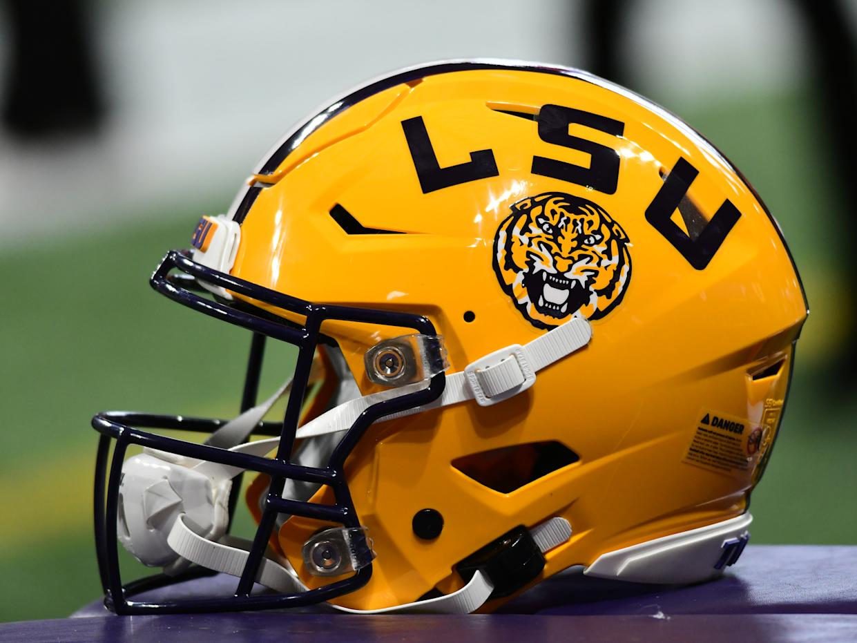 ATLANTA, GA - DECEMBER 07: LSU Tigers football helmet during the SEC Championship game between the Georgia Bulldogs and the LSU Tigers on December 07, 2019, at Mercedes-Benz Stadium in Atlanta, GA.(Photo by Jeffrey Vest/Icon Sportswire via Getty Images)