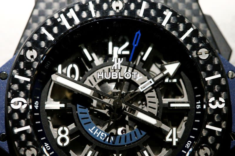 Hublot's logo is seen on a Big Bang Unico GMT Carbon watch at the Baselworld watch and jewellery fair in Basel
