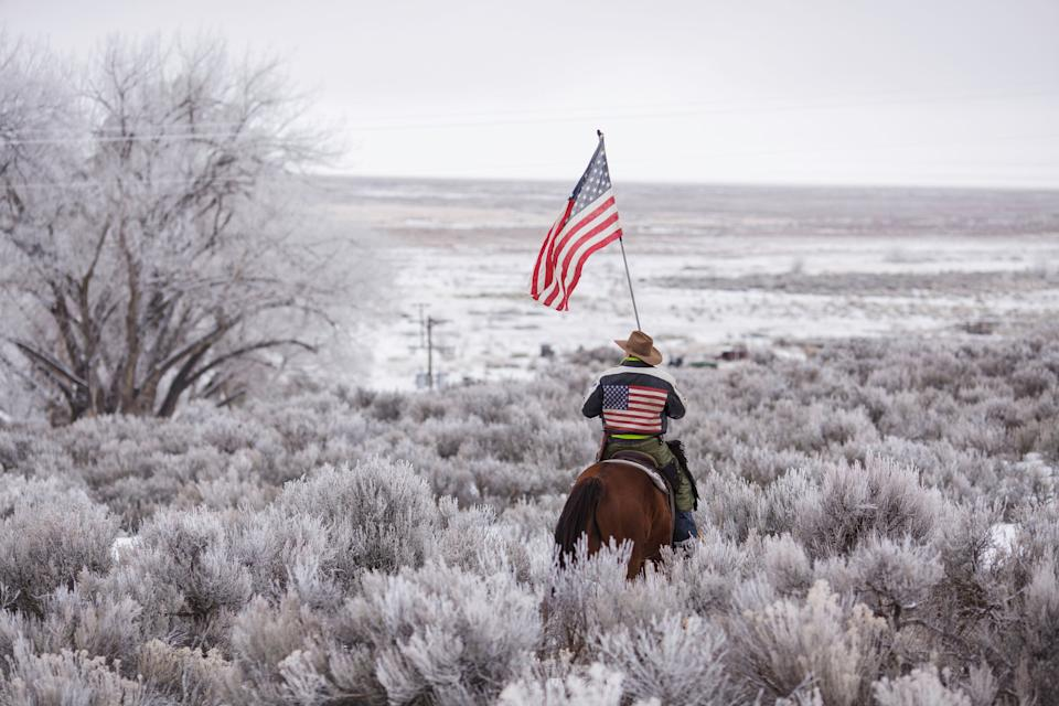 Duane Ehmer rides his horse at the occupied Malheur National Wildlife Refuge in Burns, Oregon, Jan. 7, 2016. (Photo: ROB KERR via Getty Images)