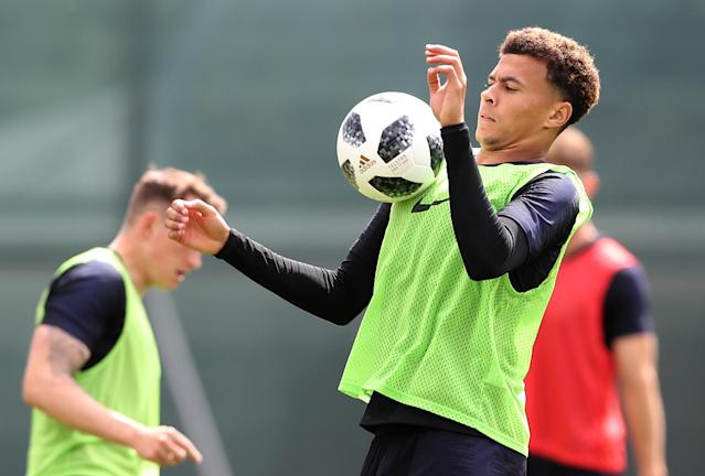 Spurs midfield man Dele Alli controls the ball on his chest during the first training session. (Getty)