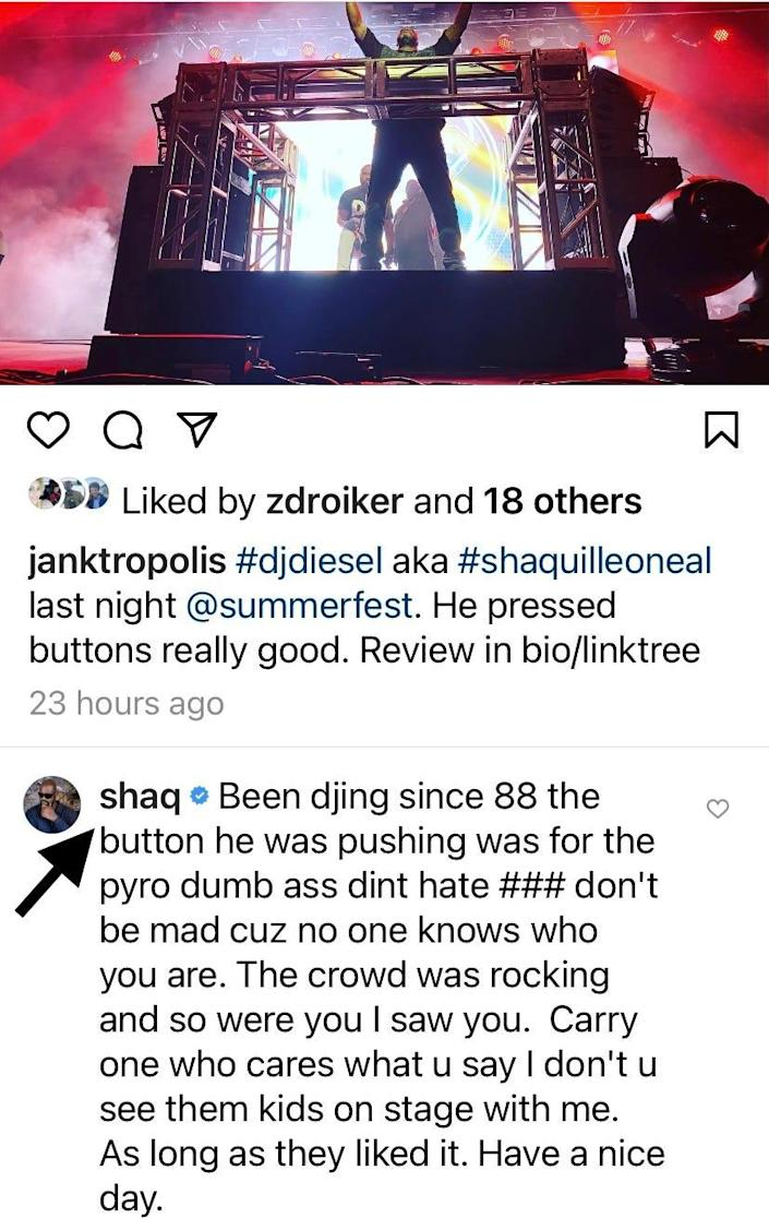 Shaquille O'Neal did not take too kindly to Damon Joy's review of his DJ Diesel set at Summerfest.