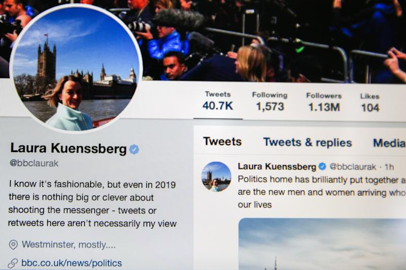 Twitter account of Laura Kuenssberg - journalist and political editor of BBC News. (Photo by Dinendra Haria / SOPA Images/Sipa USA)