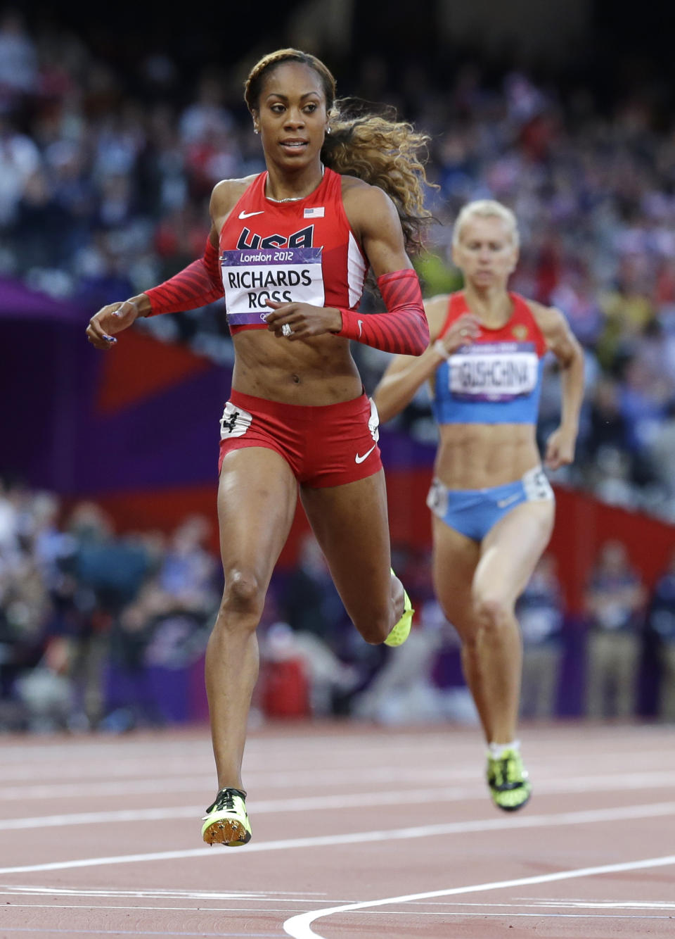 The Jamaican born track and field sensation is already taken by Aaron Ross of the Jacksonville jaguars. However, this beauty is still turning heads representing the United States in the women's 400-meter at the 2012 Summer Olympics, London. (AP Photo/Anja Niedringhaus)