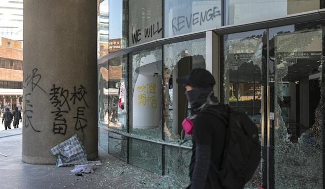 Buildings at Polytechnic University were vandalised by protesters on Monday, prompting a police response that included tear gas. Photo: Sam Tsang
