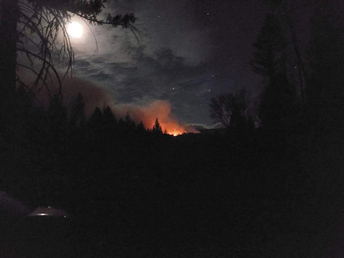 The August Complex blaze as seen from the communities of Post Mountain and Trinity Pines.