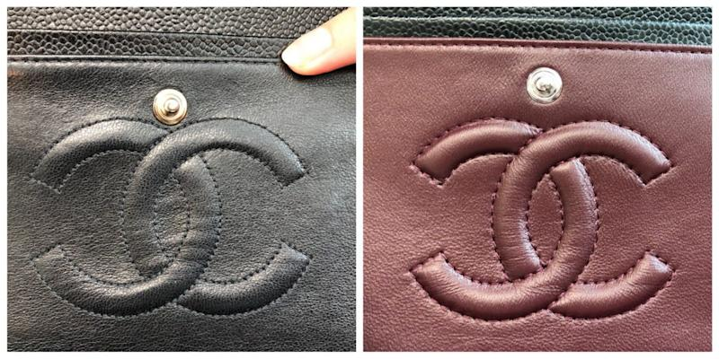 The snap stud is tucked in close to the real Chanel logo, at left, and much higher on the fake at right.