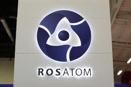 The logo of Russian state nuclear monopoly Rosatom is pictured at the World Nuclear Exhibition 2014, the trade fair event for the global nuclear energy sector, in Le Bourget, near Paris