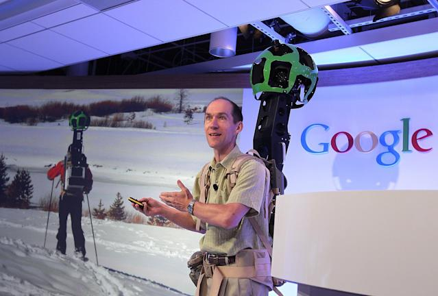 SAN FRANCISCO, CA - JUNE 06: Luc Vincent, Google Engineering Director for Street View, demonstrates a backpack camera called Trekker during a news conference about Google Maps on June 6, 2012 in San Francisco, California. Google announced new upgrades to Google maps including a feature to download maps and view offline, better 3D mapping and a backpack camera backpack camera device called Trekker that will allow Street View to go offroad on hiking trails and places only accessible by foot. (Photo by Justin Sullivan/Getty Images)