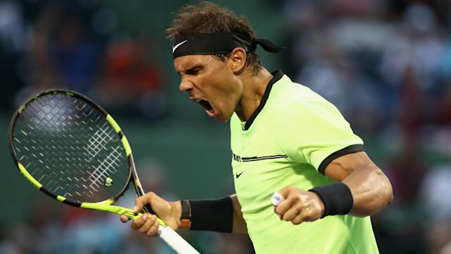 Rafael Nadal was in a happy mood after celebrating his 1,000th match with a win over Philipp Kohlschreiber in Miami.