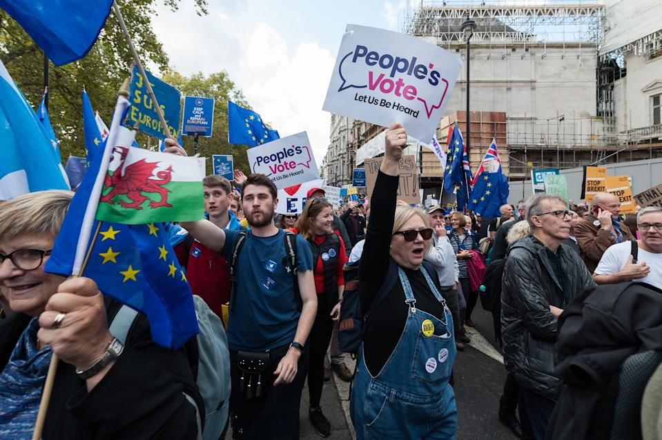 Anti-Brexit protesters take part in 'Together for the Final Say' march through central London to demand a public vote on the outcome of Brexit on 19 October. Photo: Wiktor Szymanowicz/Barcroft Media via Getty