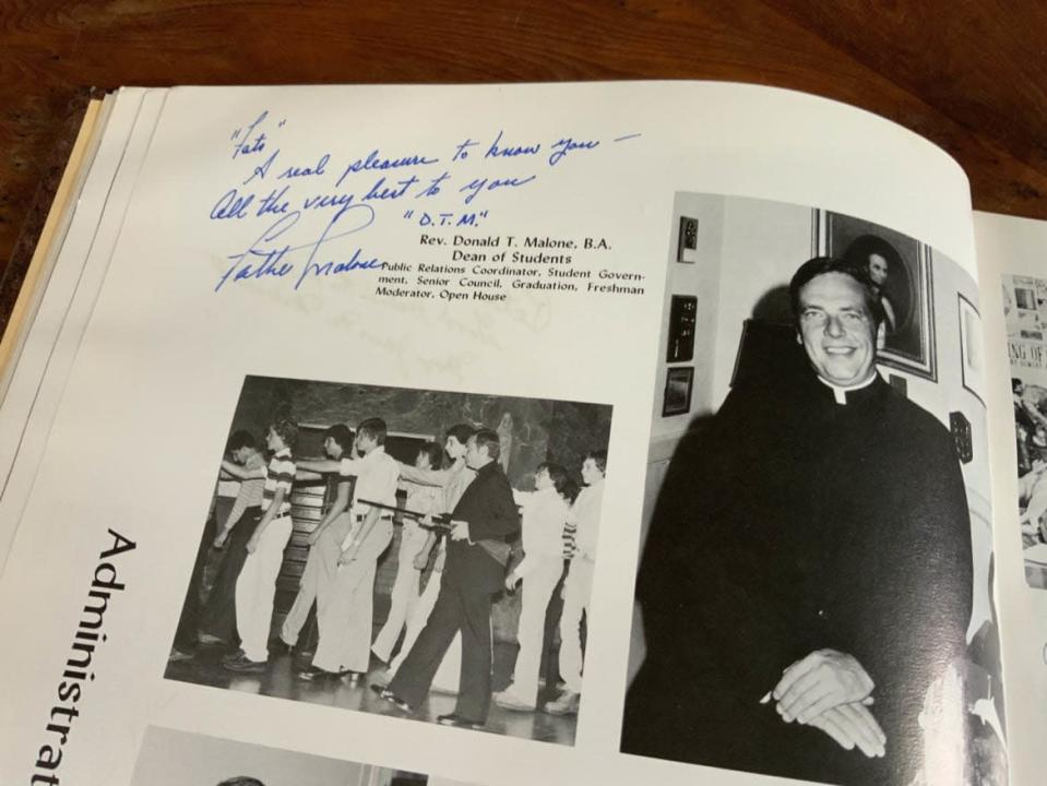"""<div class=""""inline-image__caption""""><p>Father Donald Malone in the Stepinac yearbook.</p></div> <div class=""""inline-image__credit"""">Courtesy Jenny Grosvenor</div>"""