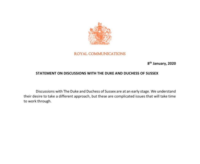 A statement released to journalists from Buckingham Palace. Photo: Twitter/RoyalReporter