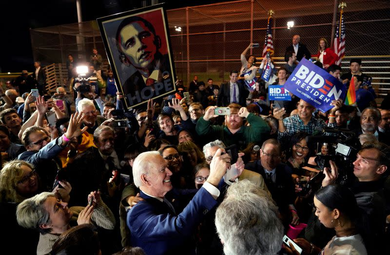 FILE PHOTO: Democratic U.S. presidential candidate and former Vice President Joe Biden with supporters at his Super Tuesday night rally in Los Angeles, California, U.S.