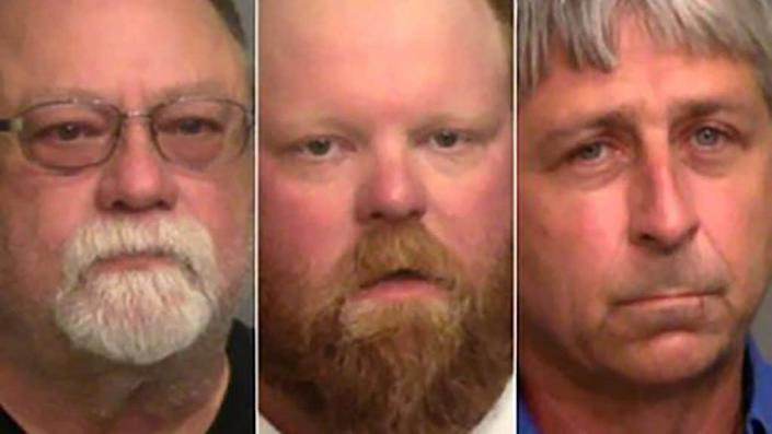 """Left to right: Greg McMichael, Travis McMichael and William """"Roddie"""" Bryan Jr.(Photo: Glynn County Sheriff's Office via AP)"""