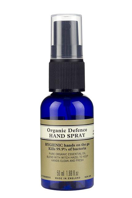 """This spray's refreshing herbal scent had us from the get-go. One spritz of the product's witch-hazel-and-organic oil-infused formula covers both your hands without leaving them sticky <em>or </em>dry. <br><br><strong>Neal's Yard Organic </strong>Defense Hand Spray, $10.50, available at <a href=""""https://us.nyrorganic.com/shop/corp/product/0101/organic-defence-hand-spray-1-69-fl-oz/?a=12&cat=0&search=organic%20hand"""" rel=""""nofollow noopener"""" target=""""_blank"""" data-ylk=""""slk:NYR Organic."""" class=""""link rapid-noclick-resp"""">NYR Organic. </a> (<strong>Ed. Note: </strong>This product is currently sold out. We have reached out to Neal's Yard to inquire when the product will be back in stock and will update the story when we hear back.)<br><br>"""