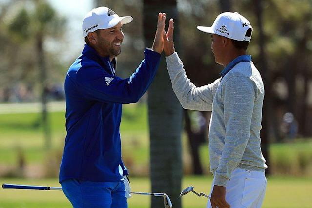 "<a class=""link rapid-noclick-resp"" href=""/pga/players/1040/"" data-ylk=""slk:Sergio Garcia"">Sergio Garcia</a> and <a class=""link rapid-noclick-resp"" href=""/pga/players/9633/"" data-ylk=""slk:Rickie Fowler"">Rickie Fowler</a> won big, and that paid off for a savvy gambler. (Getty)"