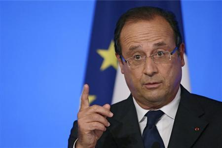 France's President Hollande delivers a speech during the Conference of Ambassadors at the Elysee Palace in Paris