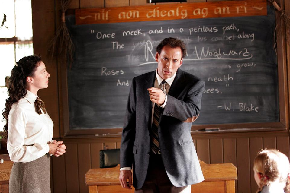 """Nicholas Cage (with Molly Parker) stars as a cop investigating a bizarre island cult in """"The Wicker Man."""""""