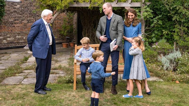 Sir David Attenborough mit Prinz George, Prinz Louis, Prinz William, Herzogin Catherine und Prinzessin Charlotte