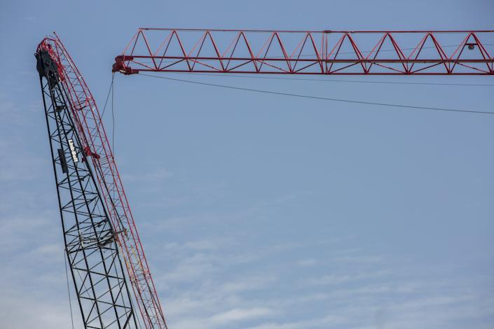 Two cranes collided in Austin Wednesday.