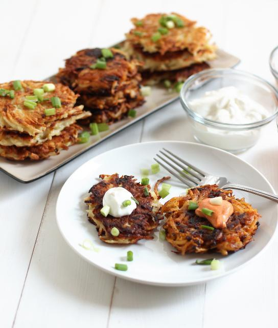 "<div class=""caption-credit""> Photo by: Crispy Bits & Burnt Ends</div><div class=""caption-title"">Ko-Jew Kimchee Latkes</div>What happens when a Korean woman marries a Jewish man? A wonderfully creative and crazy-delicious-sounding culinary mash-up: kimchee latkes! In a word, <i>yes</i>! <br> <br> <b>Recipe: <a href=""http://crispybitsnburntends.com/ko-jew-kimchee-latkes/#"" rel=""nofollow noopener"" target=""_blank"" data-ylk=""slk:Ko-Jew Kimchee Latkes"" class=""link rapid-noclick-resp"">Ko-Jew Kimchee Latkes</a></b> <br>"
