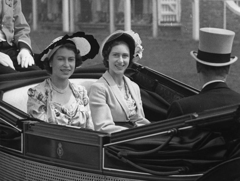 The Queen, then Princess Elizabeth, and her sister Princess Margaret at Royal Ascot in 1949. [Photo: PA]