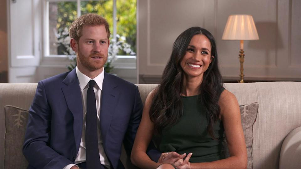 <p>Harry and Meghan took part in their first joint interview with Meghan choosing a forest green bow-adorned dress by P.A.R.O.S.H. Of course, it's now sold out.<br><i>[Photo: AP]</i> </p>