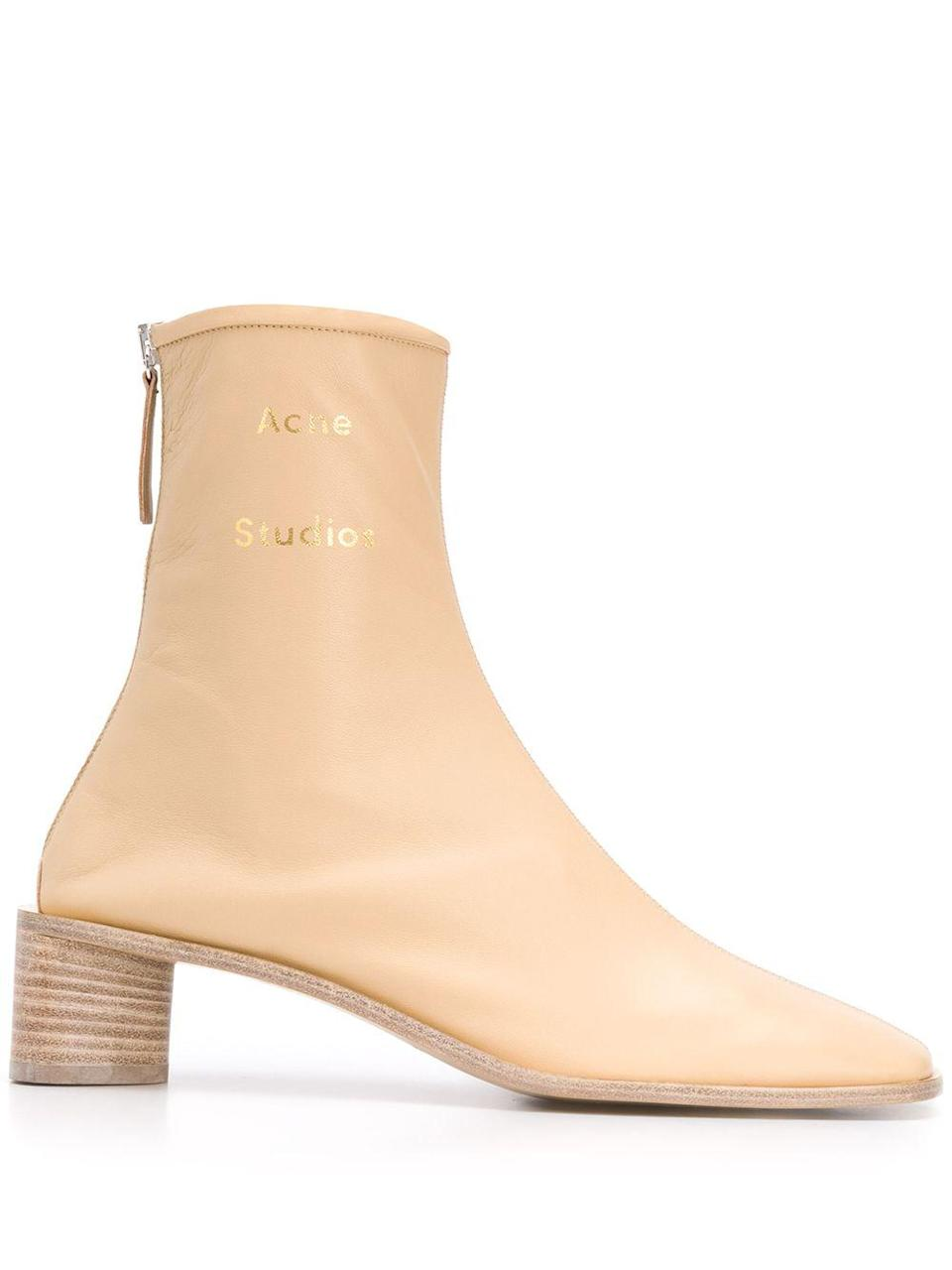 """<p><strong>Acne Studios</strong></p><p>farfetch.com</p><p><strong>$590.00</strong></p><p><a href=""""https://go.redirectingat.com?id=74968X1596630&url=https%3A%2F%2Fwww.farfetch.com%2Fshopping%2Fwomen%2Facne-studios-branded-square-toe-boots-item-15146675.aspx&sref=https%3A%2F%2Fwww.harpersbazaar.com%2Ffashion%2Ftrends%2Fg31749966%2Fsummer-2020-shoe-trends%2F"""" rel=""""nofollow noopener"""" target=""""_blank"""" data-ylk=""""slk:Shop Now"""" class=""""link rapid-noclick-resp"""">Shop Now</a></p><p>Somewhere between a white and a tan, this subtle neutral goes with everything.</p>"""