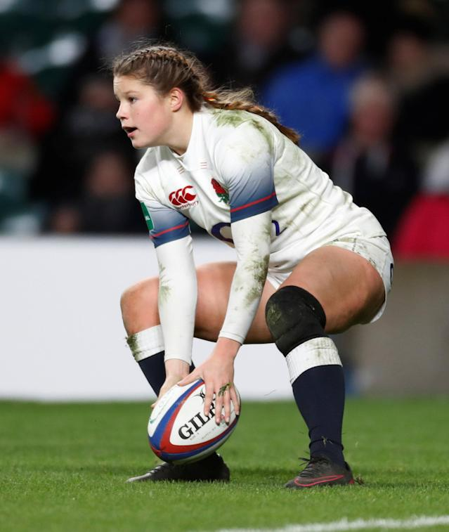 Rugby Union - Women's International - England vs Canada - Twickenham Stadium, London, Britain - November 25, 2017 England's Jess Breach scores her third try Action Images via Reuters/Paul Childs