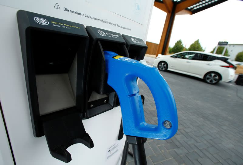 A fast charging station of Dutch charging company Fastned is pictured during its opening in Limburg