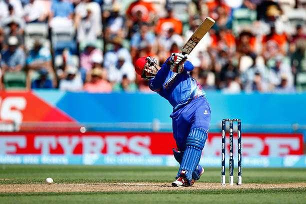 NAPIER, NEW ZEALAND - MARCH 08: Dawlat Zadran of Afghanistan bats during the 2015 ICC Cricket World Cup match between New Zealand and Afghanistan at McLean Park on March 8, 2015 in Napier, New Zealand. (Photo by Phil Walter/Getty Images)