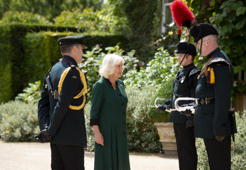 The Duchess of Cornwall at Highgrove House, during a ceremony for the transfer of the Colonel-in-Chief of the Rifles to the Duchess from the Duke of Edinburgh, who will begin the ceremony at Windsor Castle.