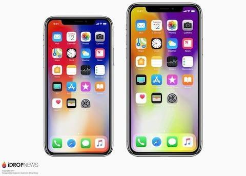 """Concept designs of the revamped iPhone X and larger """"iPhone X Plus - Credit: iDrop News"""