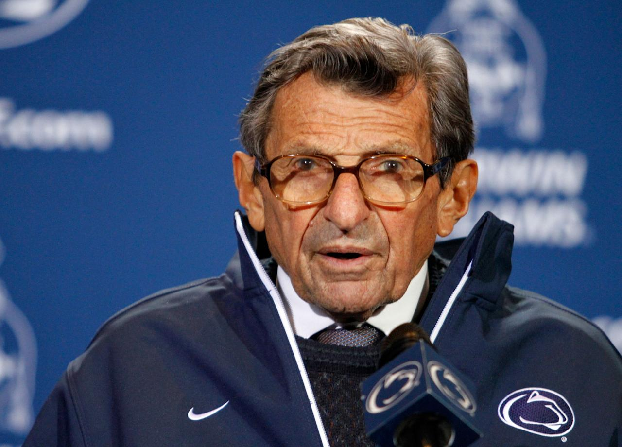 JANUARY: American college football coach Joe Paterno, 85 (1926 – 2012). (Photo by Justin K. Aller/Getty Images)