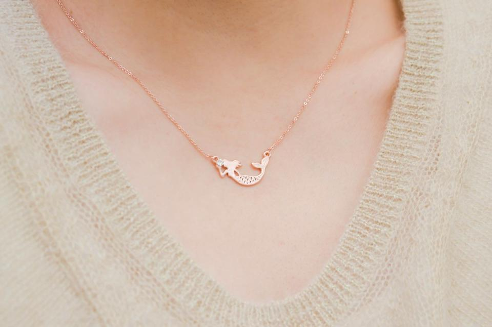 """Mermaid Rose Gold Necklace, $12.99, <a href=""""https://www.etsy.com/listing/260607987/mermaid-necklace-mermaid-jewelry-fantasy?ga_order=most_relevant&ga_search_type=all&ga_view_type=gallery&ga_search_query=mermaid&ref=sr_gallery_9"""" target=""""_blank"""">Etsy</a>"""