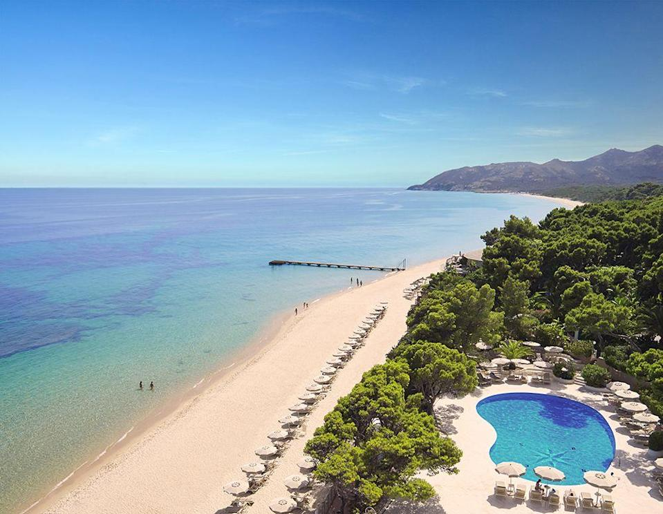 """<p>Holiday heaven = perfect sandy beach, glorious scenery, countless restaurants and a swimming pool like this. Could it get any better? Yes! <a href=""""http://fortevillageresort.com"""" rel=""""nofollow noopener"""" target=""""_blank"""" data-ylk=""""slk:Forte Village"""" class=""""link rapid-noclick-resp"""">Forte Village </a>also has a world-class Thalassotherapy Spa.</p>"""