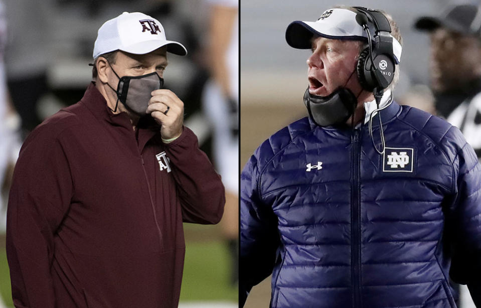 Texas A&M's Jimbo Fisher (L) and Notre Dame's Brian Kelly both think they have an argument to make the College Football Playoff. (Associated Press)
