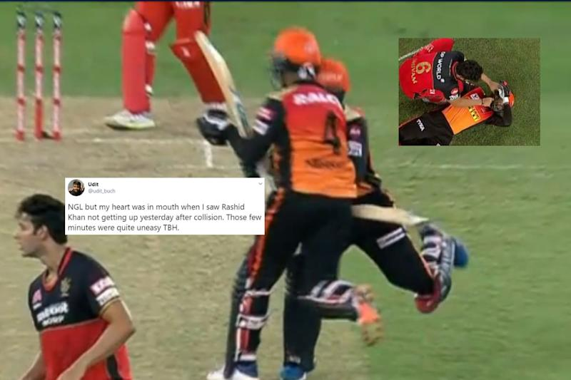 IPL 2020: Rashid Khan Knocked Over after Mid-pitch Collision with Teammate Abhishek Sharma