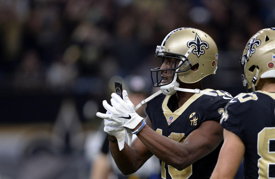 New Orleans Saints wide receiver Michael Thomas pulled off an incredible celebration tribute for Joe Horn earlier this season. (AP Photo/Bill Feig)