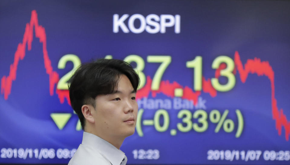 A currency trader walks by the screen showing the Korea Composite Stock Price Index (KOSPI) at the foreign exchange dealing room in Seoul, South Korea, Thursday, Nov. 7, 2019. Asian stocks are mostly lower after a meandering day of trading left U.S. stock indexes close to their record highs. (AP Photo/Lee Jin-man)