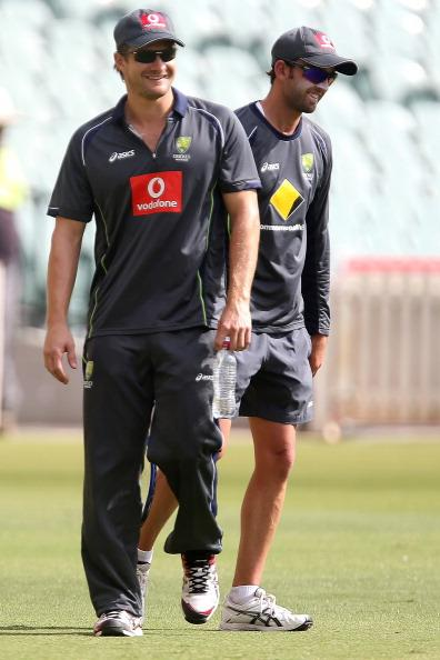 ADELAIDE, AUSTRALIA - NOVEMBER 20:  Shane Watson and Nathan Lyon smile during an Australian training session at Adelaide Oval on November 20, 2012 in Adelaide, Australia.  (Photo by Regi Varghese/Getty Images)