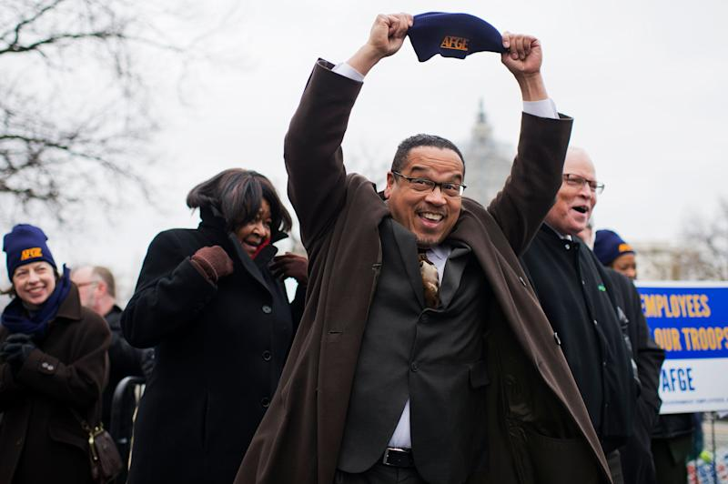 Rep. Keith Ellison (D-Minn.) attends a rally with labor groups, including the American Federation of Government Employees, in Upper Senate Park to support federal workers and the working class, on Feb. 10, 2015.
