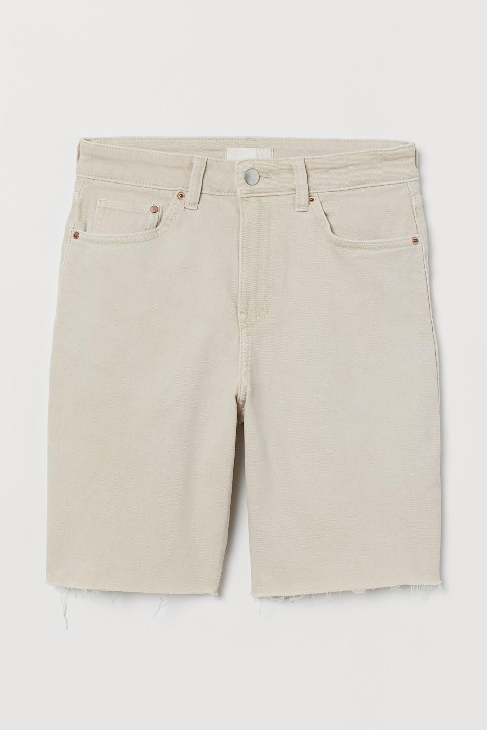<p>If you're looking for longer-length shorts, consider these cool <span>H&amp;M Denim Shorts High Waist</span> ($30).</p>