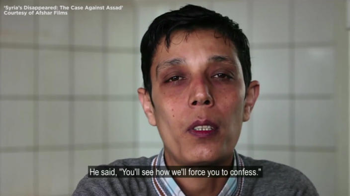 "Mazen Alhummada, a human rights activist who was detained and tortured in Syria. (Screen capture from ""Syria's Disappeared: The Case Against Assad"")"
