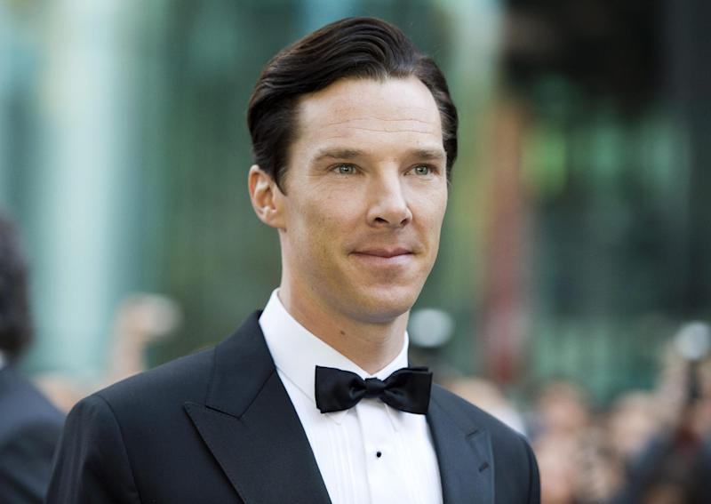 "Actor Benedict Cumberbatch poses for a photographs on the red carpet at the gala for the new movie ""The Fifth Estate"" during the 2013 Toronto International Film Festival in Toronto on Thursday, Sept. 5, 2013. (AP Photo/The Canadian Press, Frank Gunn)"