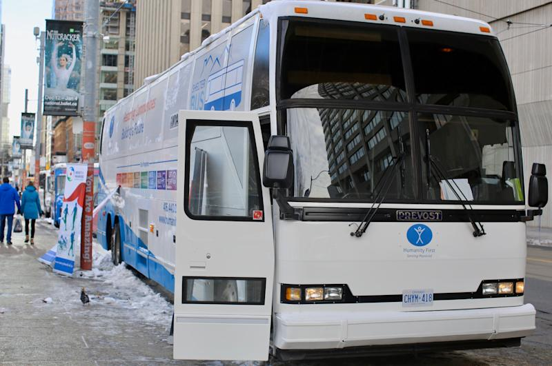 The Shelter Bus's route through downtown Toronto will change depending on the need. (Photo: Samantha Beattie/HuffPost Canada)