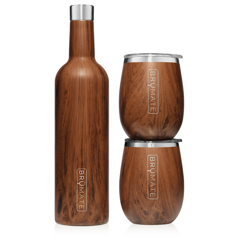 "<h3>Stainless Steel Wine Bottle Set</h3> <br>If you're <em>really</em> big into wine (or <a href=""https://www.brumate.com/collections/beer"" rel=""nofollow noopener"" target=""_blank"" data-ylk=""slk:beer"" class=""link rapid-noclick-resp"">beer</a>), then you may want to up the portability game by investing in a set that allows you to transport entire bottles of your favorite vintage while keeping it optimally chilled for up to 24 hours.<br><br><strong>BrüMate</strong> Winesulator + 2 Uncork'd XL Wine Tumblers/Lids 