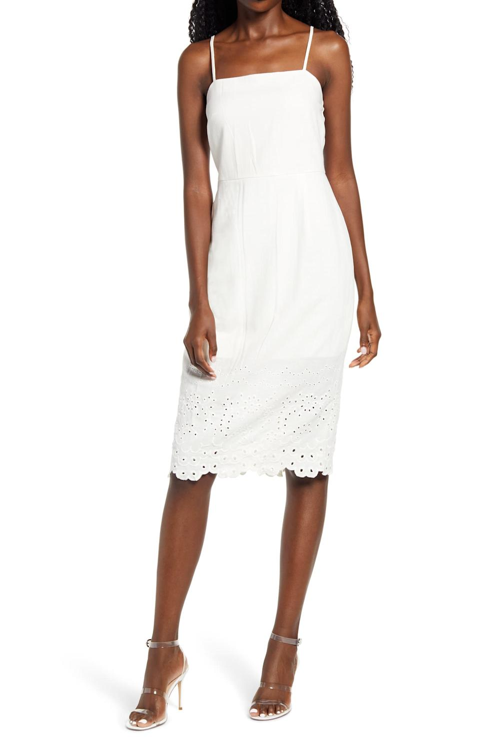 Sleeveless Embroidered Midi Dress-ROW A. Nordstrom.